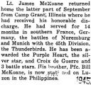James McKoane was honorably discharged from Camp Grant