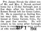 James Novak arrived home for a fifteen day furlough from Camp Carson