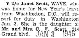 Janet Scott was home on leave from Washington D.C.