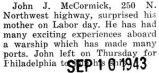 John J. McCormick surprised his mom with a visit on Labor day
