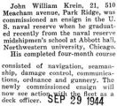 John Krein graduated and commissioned an ensign in the U.S. naval reserve