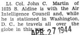 John Martin stationed in Washington D.C. with the Air Intelligence Council