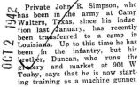 John Simpson was transferred to a camp in Louisiana
