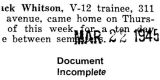 John Whitson was home for a ten day leave from V-12 training (Document Incomplete)