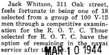 John Whitson was selected out of one hundred men to participate in the R.O.T.C. program