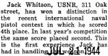 John Whitson won a distinction for placing fourth in an international naval pistol contest