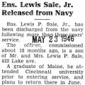 Ens. Lewis Sale, Jr. Released from Navy