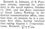 Kenneth Johnson reports for active duty