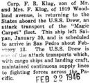 "Klug returning to the States on the U.S.S. Drew, part of the ""Magic Carpet"" fleet"
