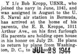 Kropp was home on his first furlough from Bermuda with the USNR
