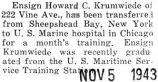 Krumwiede transferred to the U.S. Marine hospital in Chicago for a month's training
