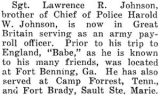 Lawrence R. Johnson served in Great Britain as an army payroll officer