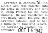 Lawrence R. Johnson stationed at Fort Brady, Michigan