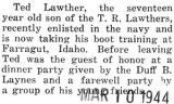 Lawther taking boot training at Farragut, Idaho