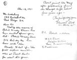 Letter from Florence E. Stahl informing Mr. Soderberg that Robert Stoner was in service