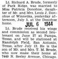 Lt. Richard A. Brude and Miss Patricia Donohue married at the Donohue home