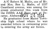 Malin was graduated from the 2156th AAF Base unit in Decatur, Alabama