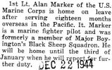 Marker home on leave after serving for eighteen months in the South Pacific