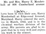 Mendenhall's parents visited him at the Edgewood Arsenal