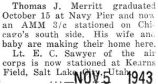 Merritt stationed on Chicago's south side as an Aviation machinist mate, third class