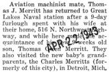 Merritt was home for a nine day furlough from the Great Lakes Naval station