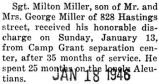 Milton Miller was honorably discharged from Camp Grant