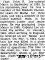 Article explaining Lee's accomplishments at school and in the military and how he was killed in...