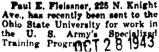 Fleissner was sent to Ohio State University to work in the Army's Specialized Training Program