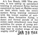 Houck took advanced flying after he completed his basic course at Malden army air field