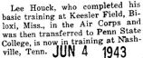 Houck took Air Corps training in Nashville, Tennessee