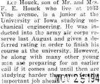 Houck was inducted into the army air corps reserve