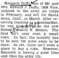 Kenneth Duffy was stationed at Hobbs Field in New Mexico with the Army Air Corps