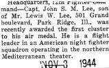 Lee was awarded the first cluster to his air medal for service in the northern Mediterranean...