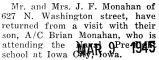 Monahan's parents visited him at the Naval Pre-flight school in Iowa City, Iowa