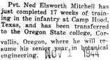 Ned Mitchell was transferred to Oregon State College