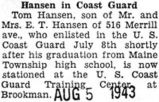 Hansen in Coast Guard