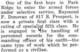 One of the first boys to enter the armed forces under Selective Service