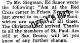 Part of a letter to Mr. Siegman, from Edward Sauer, who was stationed at San Bruno