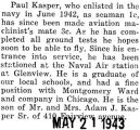Paul Kasper promoted to an aviation machinist's mate third class