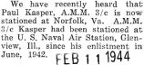 Paul Kasper stationed in Norfolk, Virginia