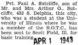 Paul Sutcliffe was sent to Scott Field, Illinois for basic training