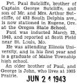 Paul Sutcliffe was stationed at the Oregon State School in Eugene, Oregon