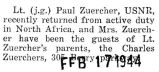 Paul Zuercher returned from duty with the USNR in North Africa