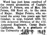 Peters was promoted to major while stationed at Camp Beale, California