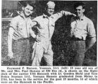 Photograph with caption of Yeoman Hansen shown with crewmates aboard the USS Hancock