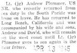 Plummer was home on leave after serving in the South Pacific