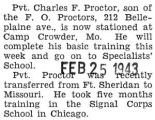 Proctor was stationed at Camp Crowder, Missouri getting ready for Specialists' School