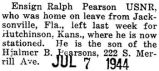 Ralph Pearson, who was home on leave, left for Hutchinson, Kansas where he was stationed