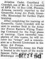 Reported to the Greenville Army Air field in Mississippi for further flight training
