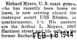 Richard Myers served aboard the destroyer escort USS Rhodes
